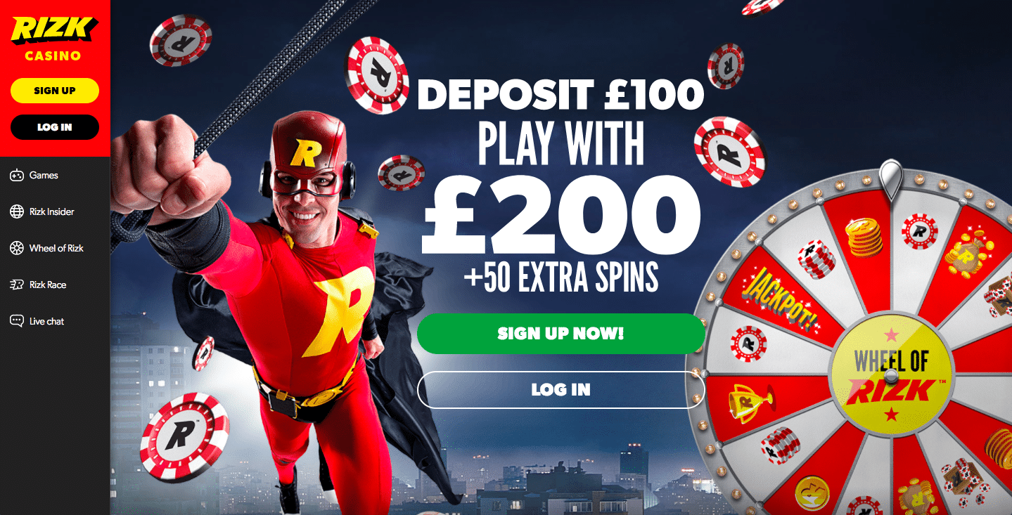 rizk online casino front page