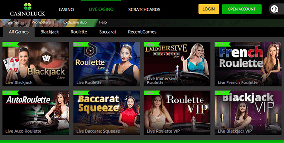 casinoluck front page